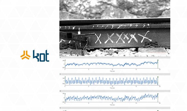 Imagem de trilho de trem em software para análise de vibrações por tratamento de imagem